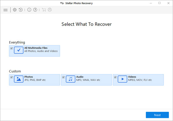 Recover Photo, Audio, & Video button